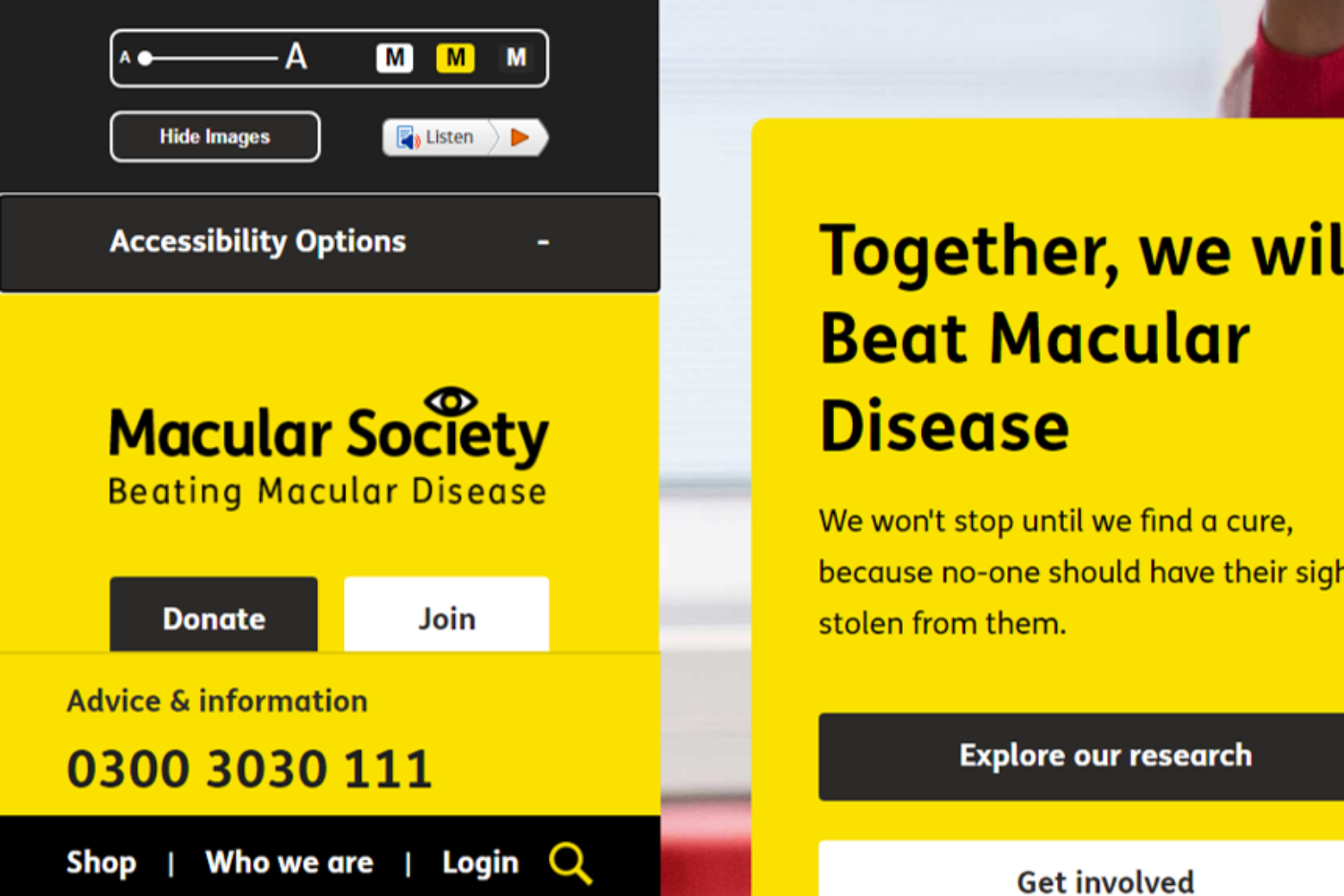 Accessibility options on charity web design